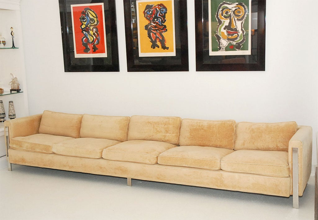 Horst Brüning Monumental 12 Foot Sofa With Stainless Steel Detail At 1stdibs