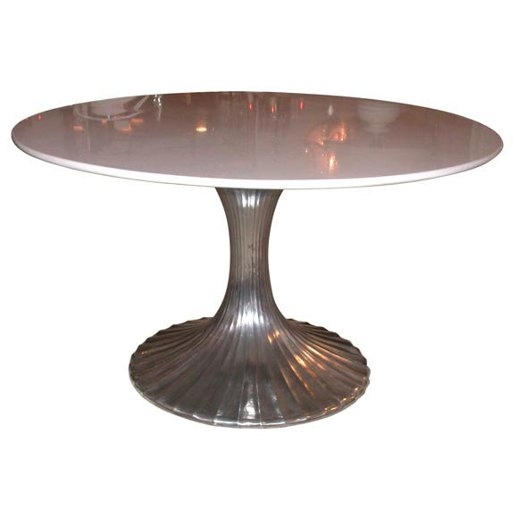 Round Aluminum Base Dining Table With White Granite Top At