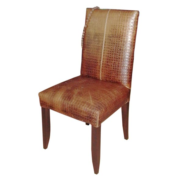 Faux Alligator Leather Chair At 1stdibs