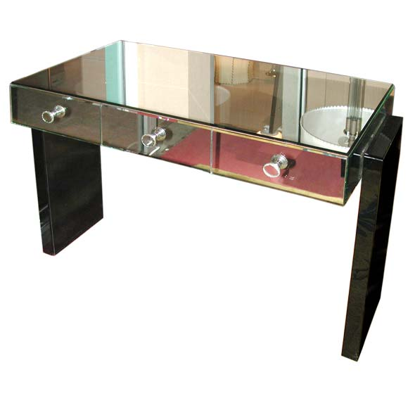 Small Mirrored Desk Possibly by Jacques Adnet at 1stdibs