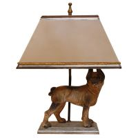 Iron Dog Lamp with Shade at 1stdibs