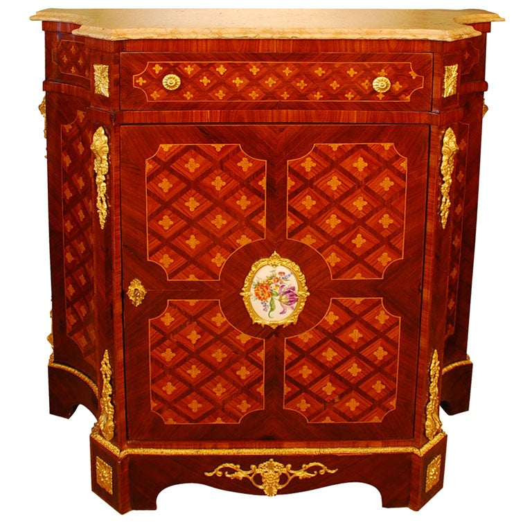 Meuble Louis 16 Louis Xvi Style Cabinet With Marble Top And Porcelain Placque