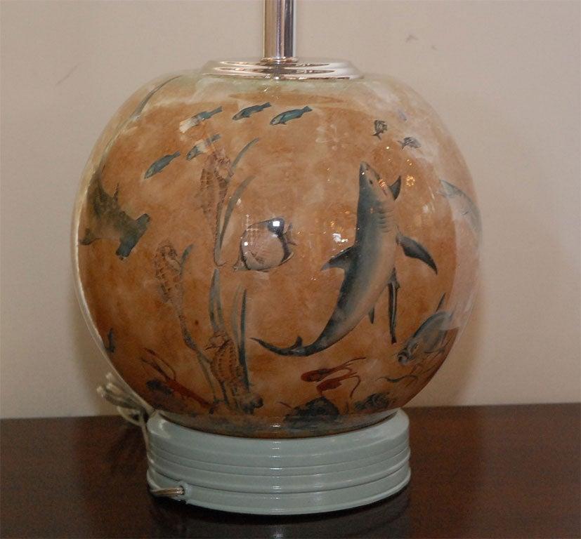 Decoupage Fish Bowl Table Lamp at 1stdibs
