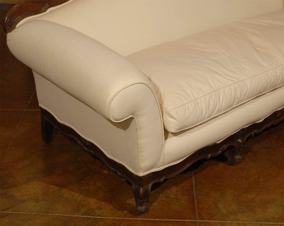 Italian Baroque Style 19th Century Walnut Upholstered Sofa