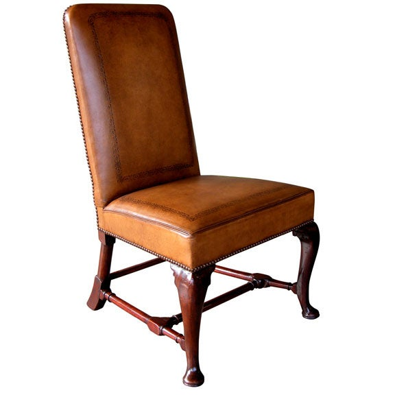 A Handsome English Queen Anne Walnut Side Chair With - Leather Queen Chair