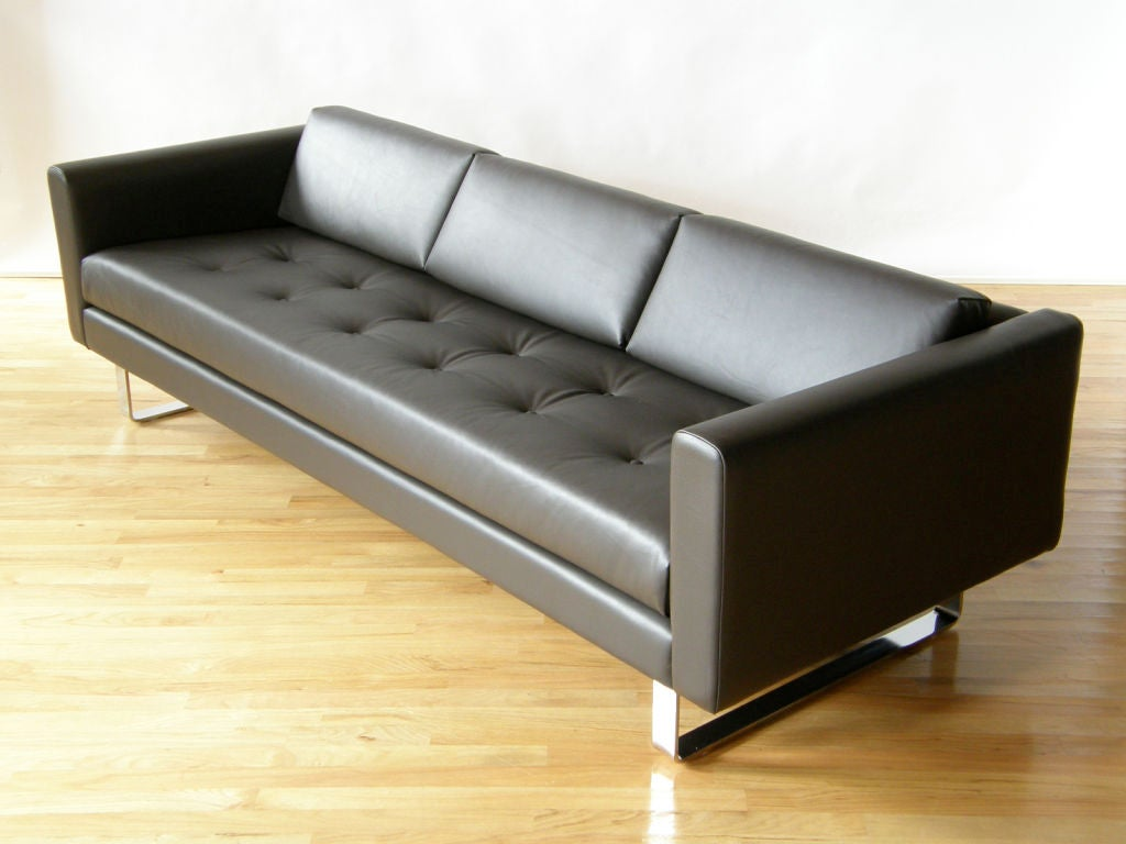 Sleek Leather Couch Directional Leather Sofa At 1stdibs