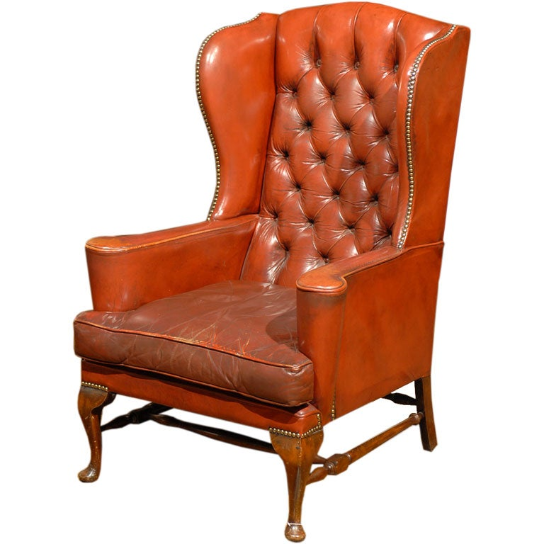 Roter Ohrensessel English Red Leather Wing Chair At 1stdibs