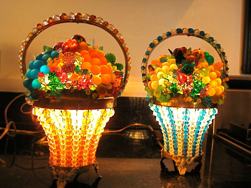 Table Top Fruit Basket Pair Of Czech Glass Fruit Basket Lamps At 1stdibs