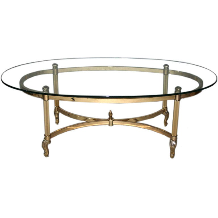 Couchtisch Oval Gold Brass And Chrome Glass Top Oval Coffee Table At 1stdibs