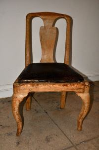 SWEDISH BAROQUE CHAIRS WITH ORIGINAL LEATHER CUSHIONS ca ...