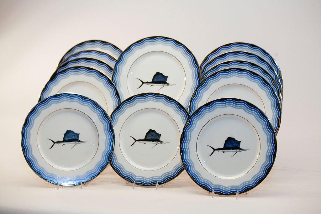 Set Of 12 Lenox Art Deco Service Plates W Sailfish