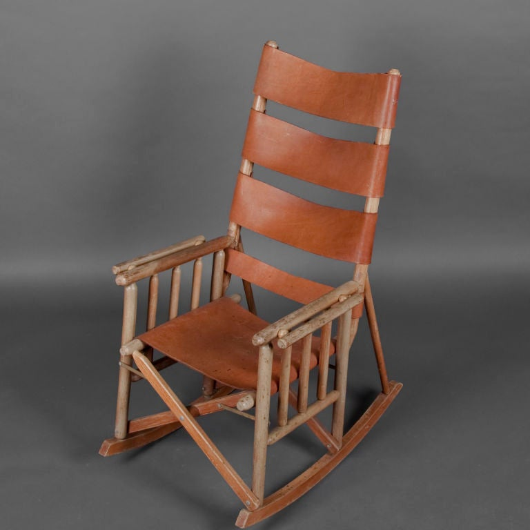 Rocking Chair Eames Folding Leather & Wood Rocking Chair Image 2