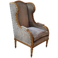 Carved Gilt Wood Wing Chair at 1stdibs