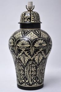 LARGE MEXICAN POTTERY BLACK AND WHITE LAMP at 1stdibs