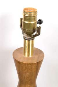 Mid-Century Teak Wood Turned Table Lamp at 1stdibs