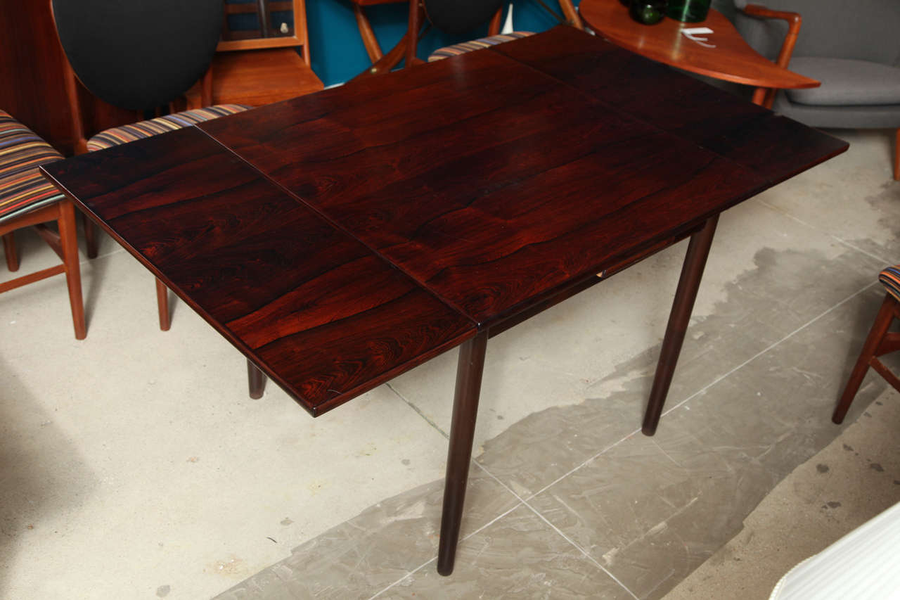 Table With Slide Out Leaves Square Rosewood Dining Table With Pull Out Leaves At 1stdibs