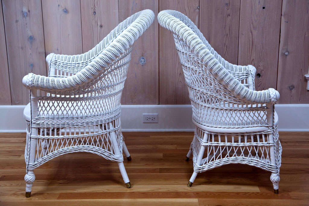 High Back High Arm Sofa Antique Victorian Wicker Rolled-arm Chairs At 1stdibs