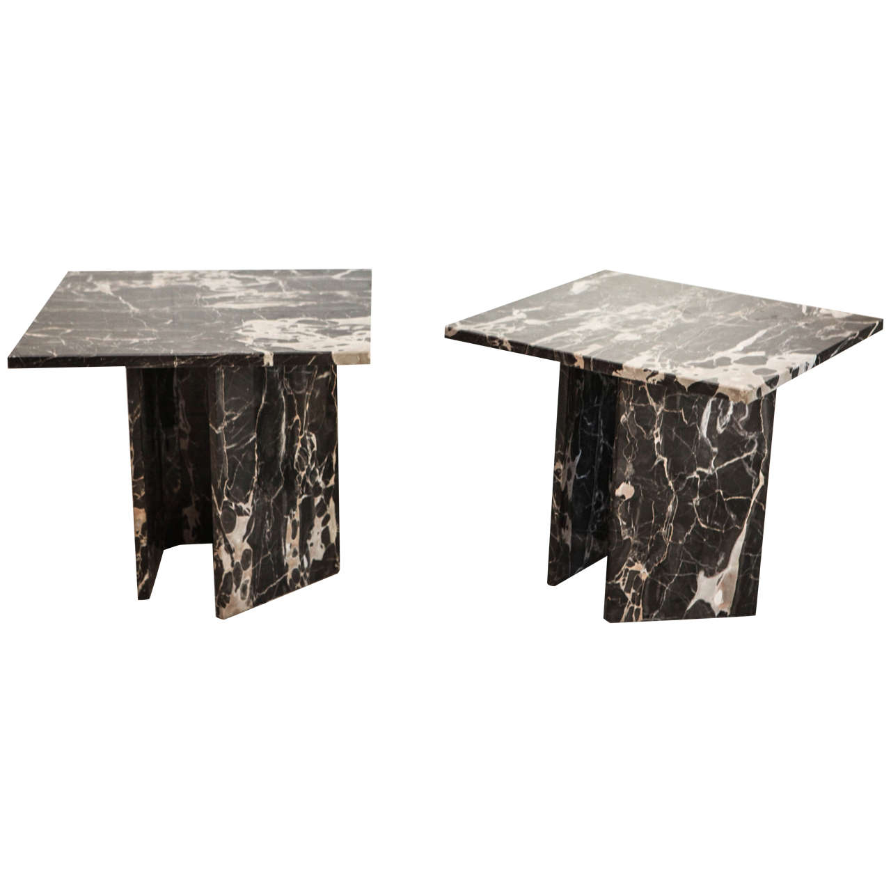 Black Modern Side Table Pair Of Black Marble Modern Side Tables At 1stdibs