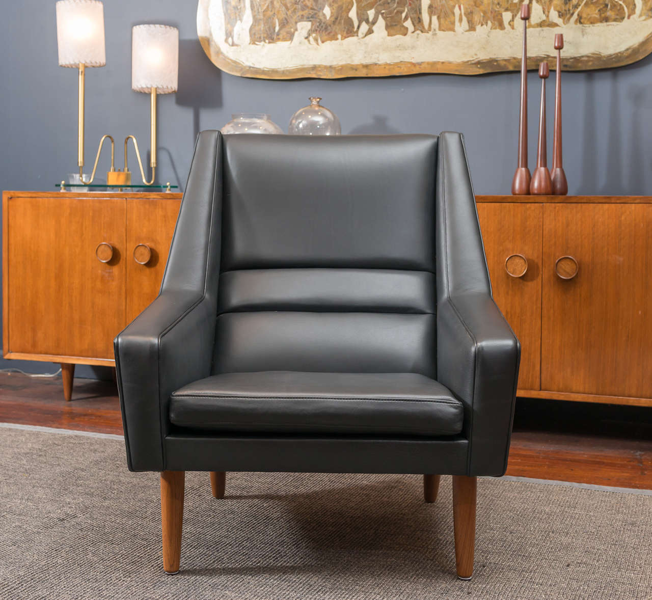Danish Leather High Back Lounge Chair At 1stdibs - Leather High Back Lounge Chair