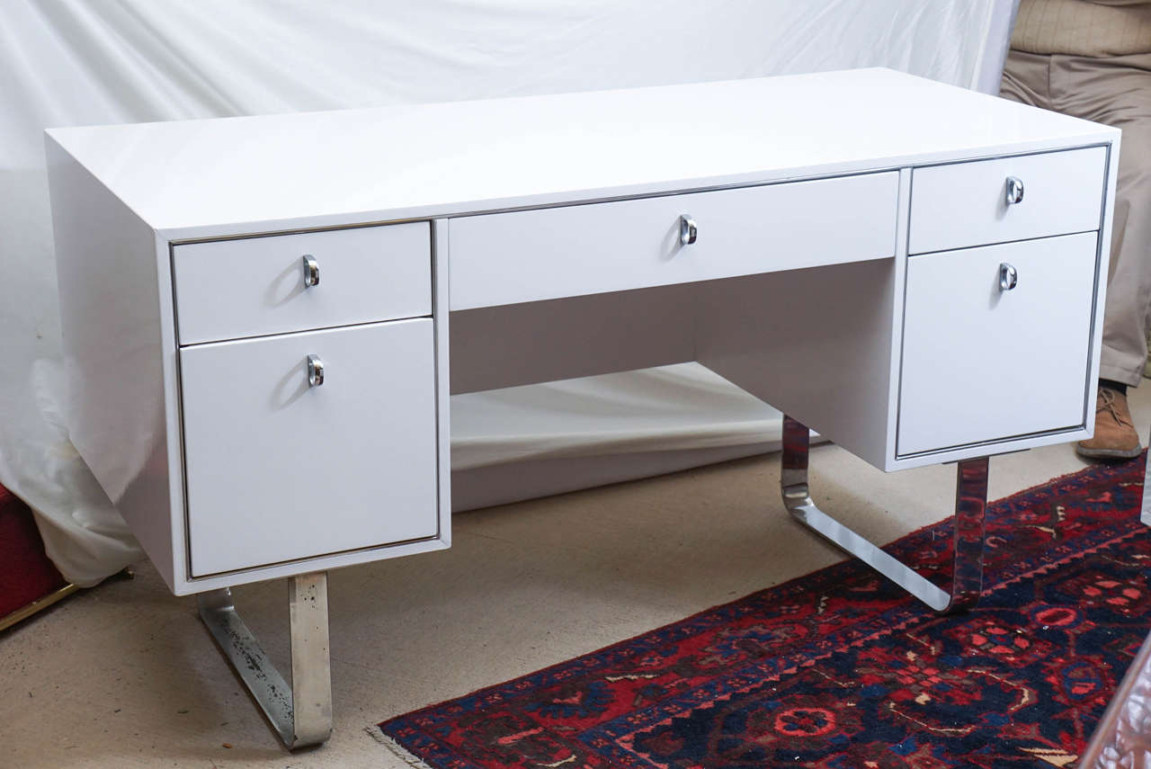 White Desk With Chrome Legs Mid Century Modern White Laquered Desk Saturday Sale At