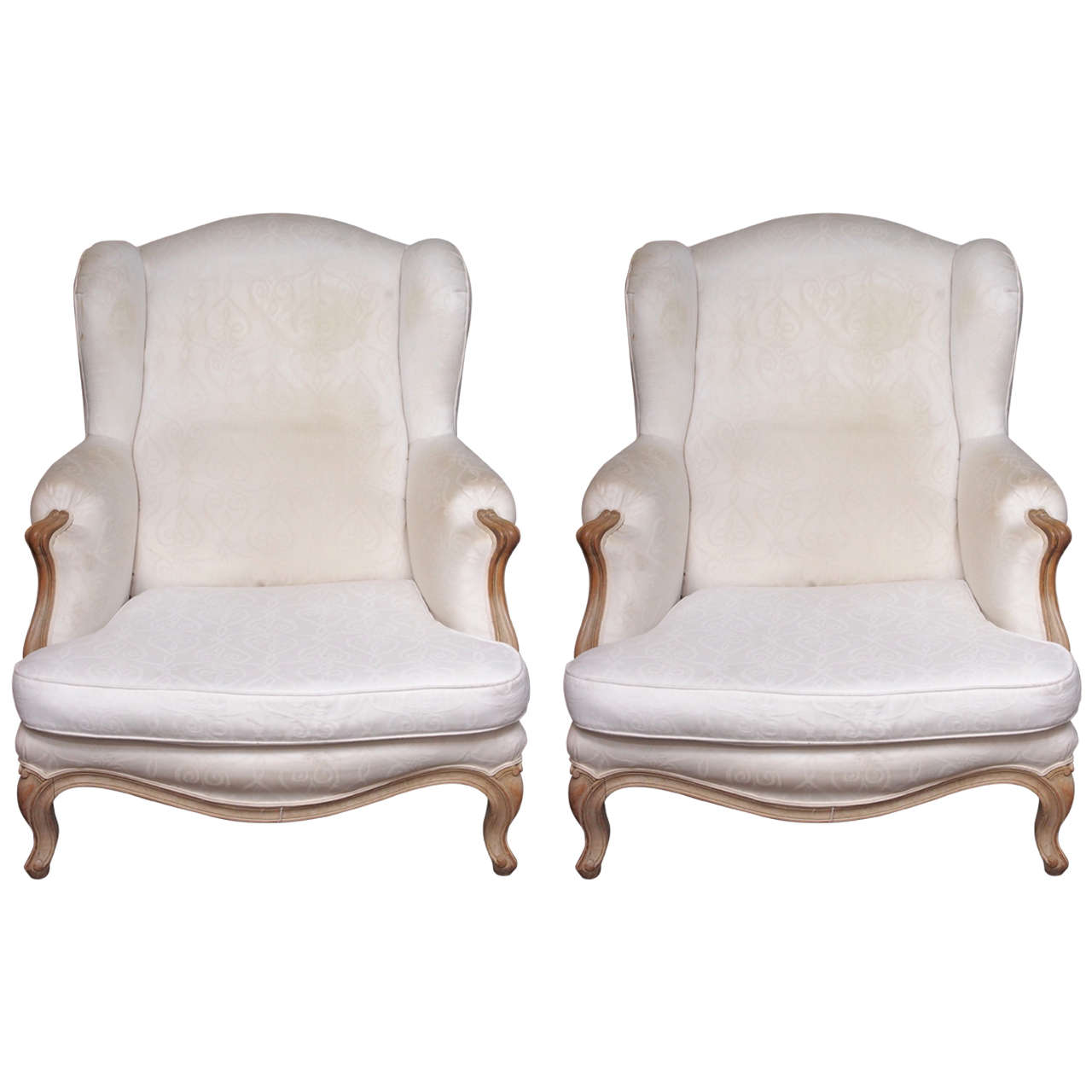 Overstuffed Wingback Chair Pair Of Over Scale Wing Louis Xv Bergeres At 1stdibs