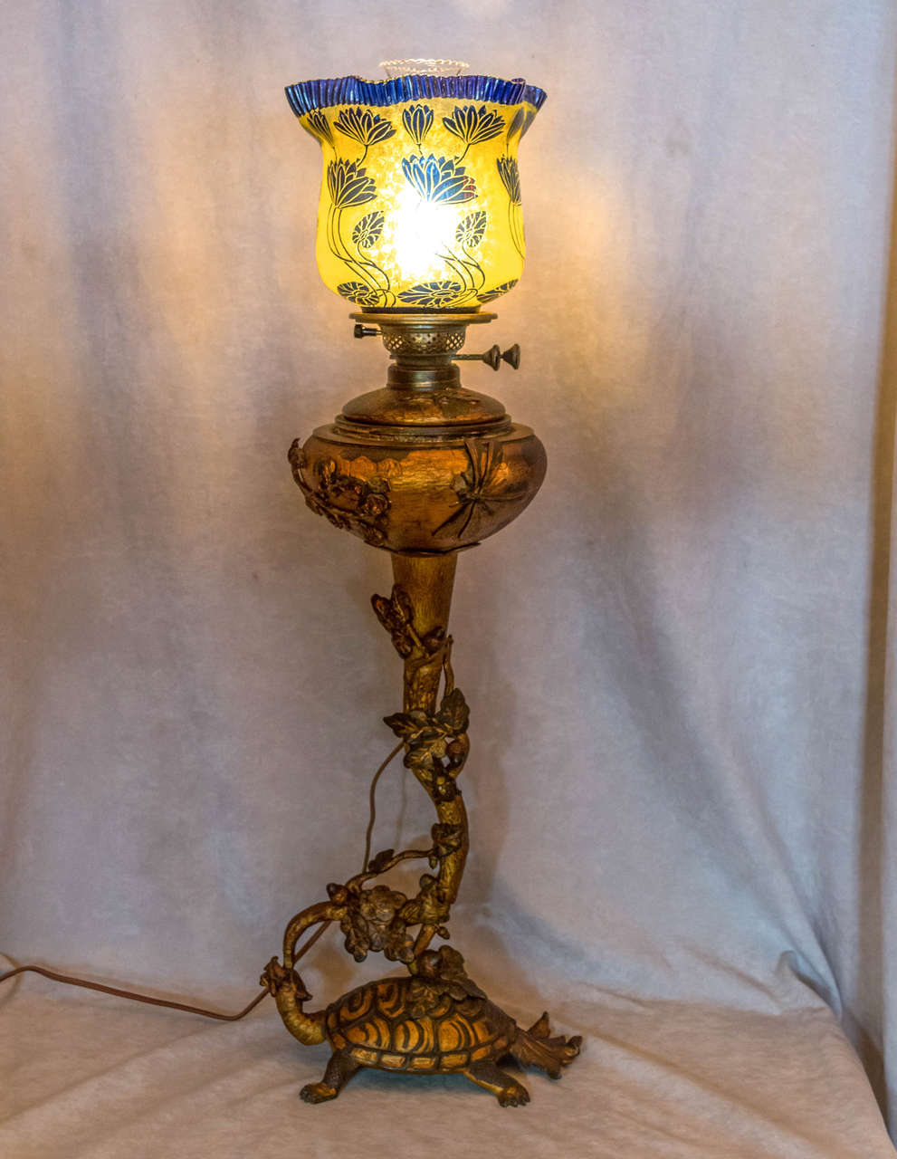 Modern Kerosene Lamp Art Nouveau Figural Bronze And Cameo Glass Kerosene Lamp