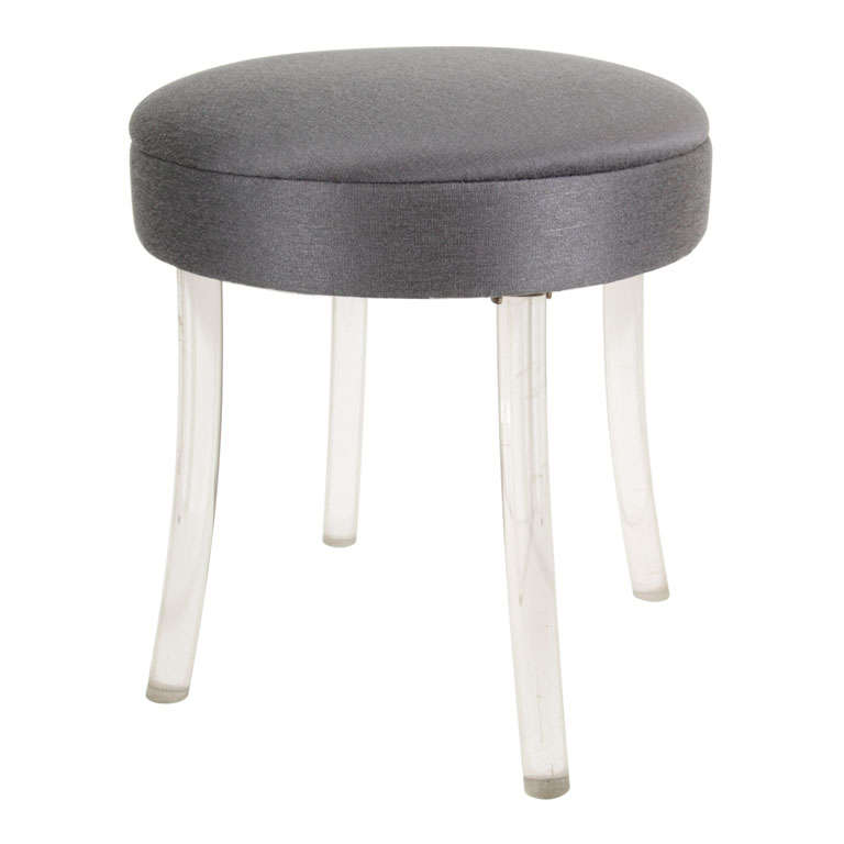 Hollywood vanity stool on splayed lucite legs at 1stdibs