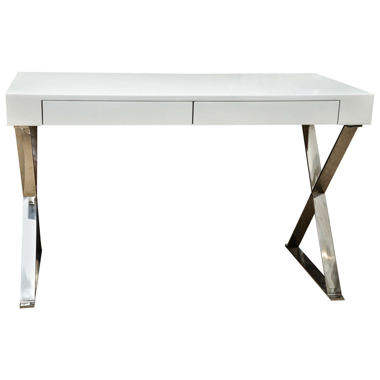 White Desk With Chrome Legs Mid Century White Lacquer Desk With Chrome X Base At 1stdibs