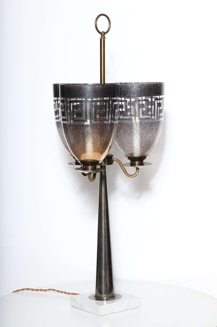 Stiffel Triple Shade Greek Key Hurricane Lamp with Brass