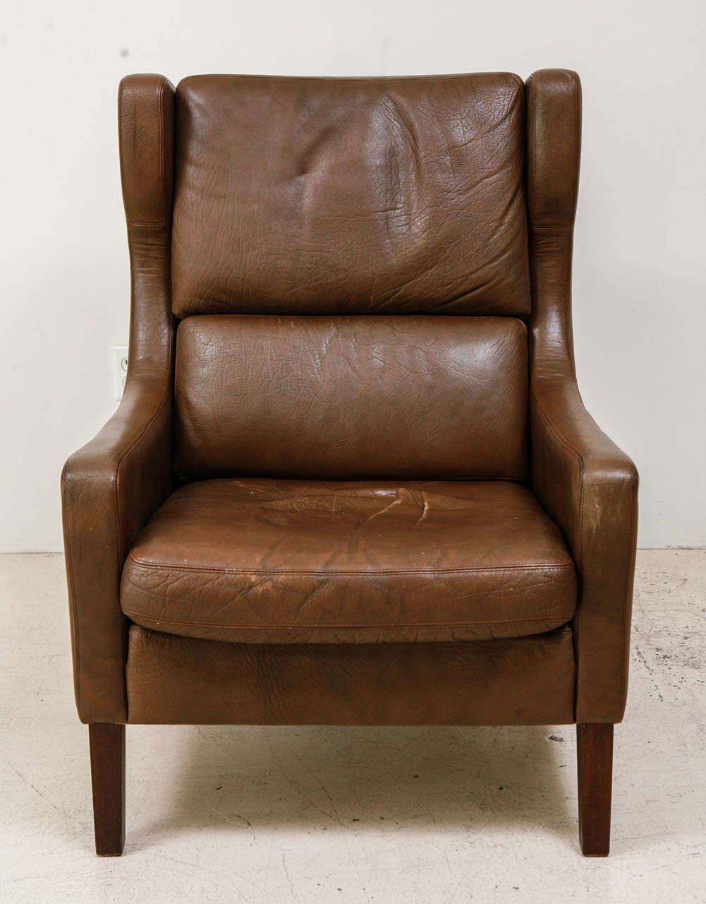 High Back Danish Leather Lounge Chair In The Style Of - Leather High Back Lounge Chair