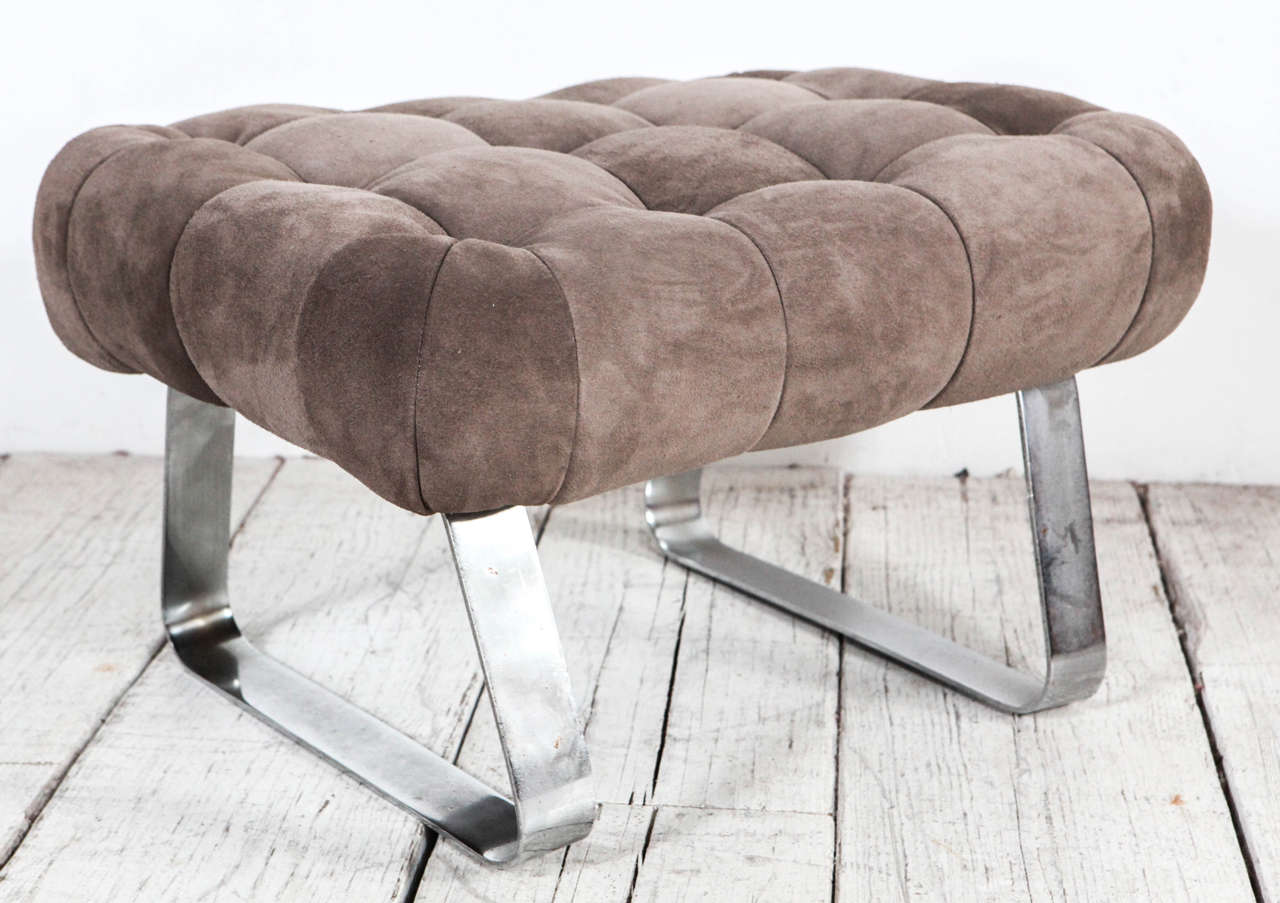 Grey Brown Suede Scoop Earth Chair And Ottoman By Percival