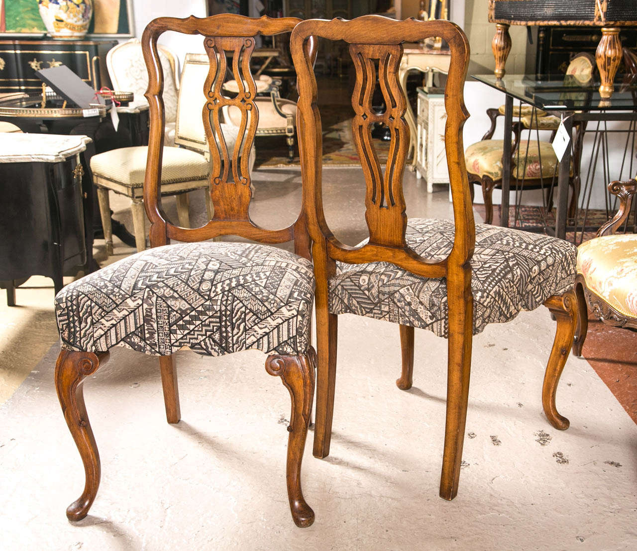 Dining Room Chair Fabric Set Ten Fine Queen Anne Styled Dining Chairs In New Fabric Walnut Cabriole Legs