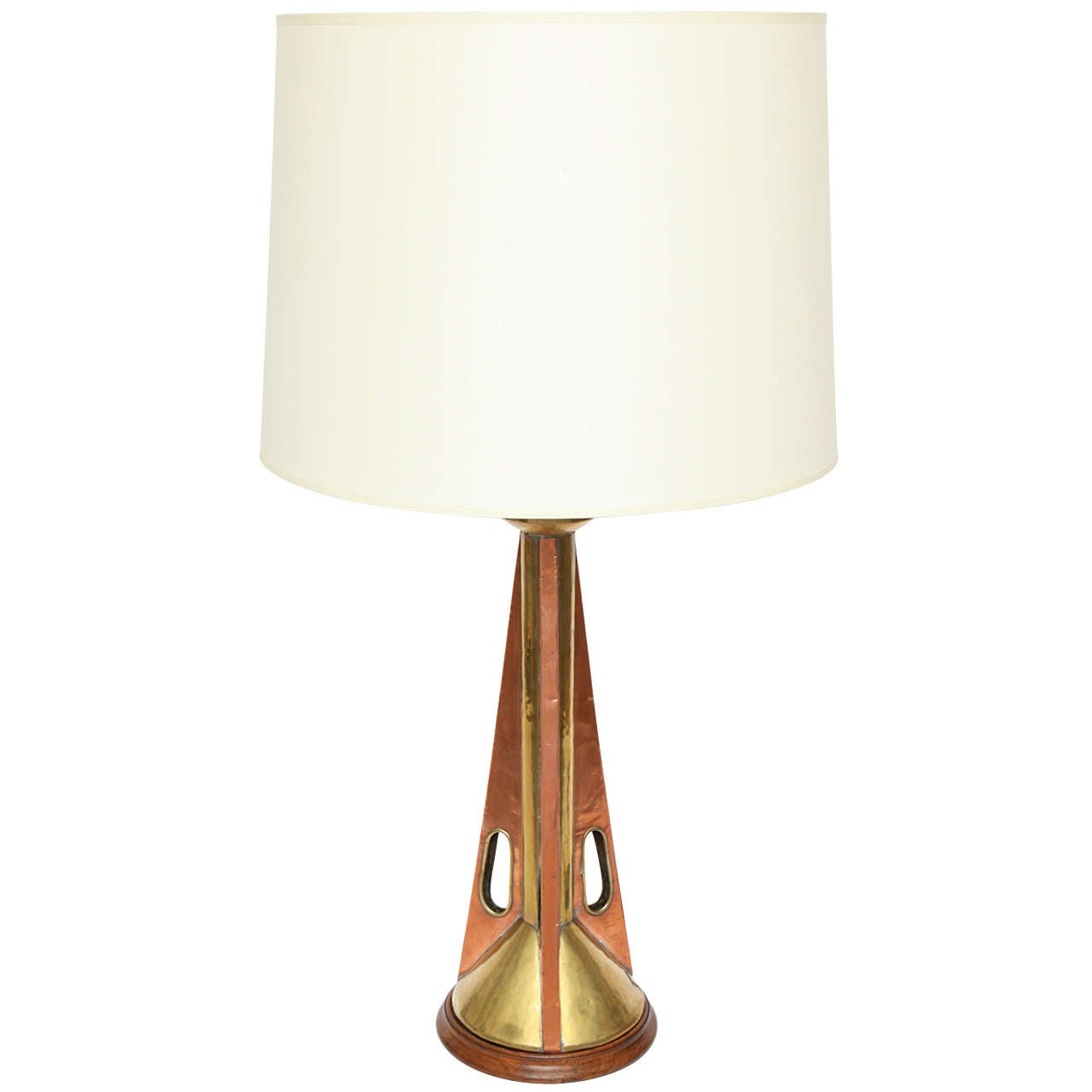 1960s Modernist Brass and Wood Table Lamp For Sale at 1stdibs