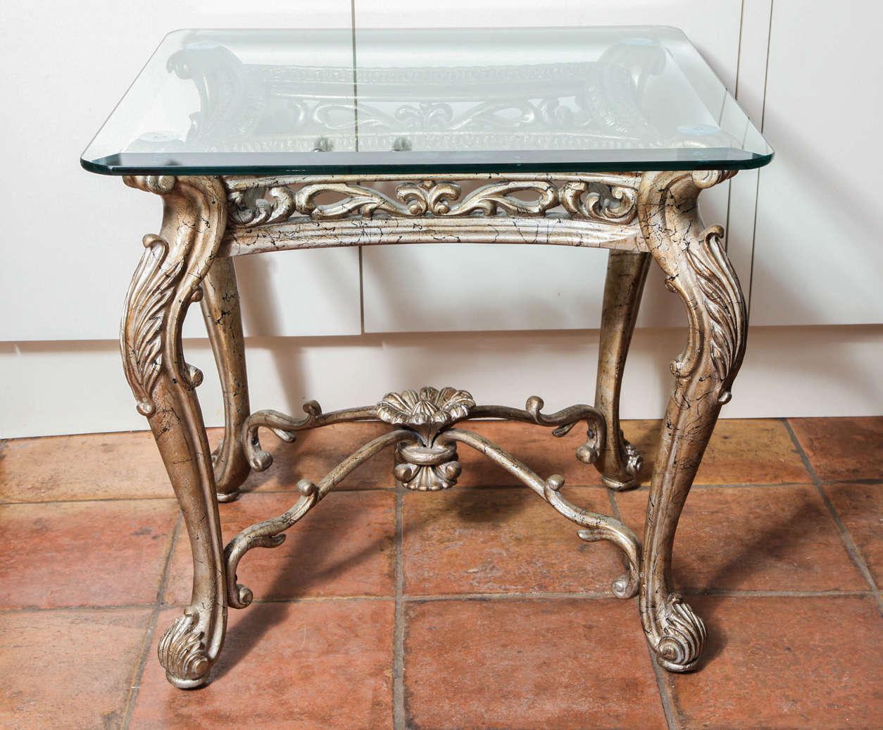 Antique italian rococo gilt silver iron square side table 2