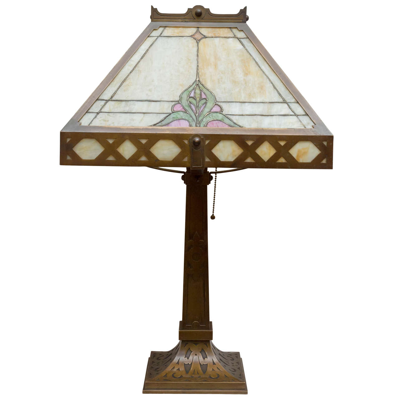 Large Lamps For Sale Large Arts And Crafts Leaded Glass Panel Lamp At 1stdibs