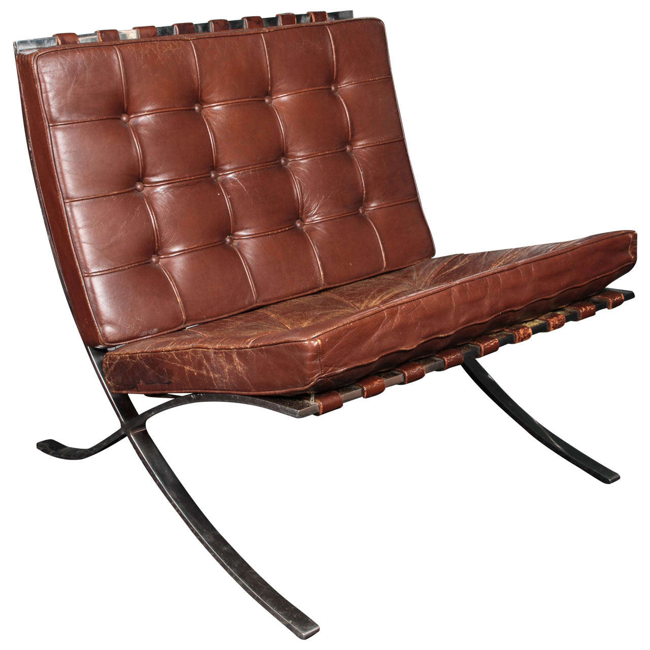 Brown leather barcelona chair by ludwig mies van der rohe for knoll 1