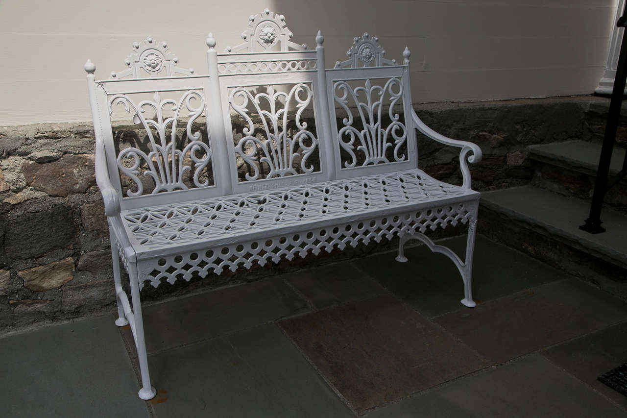 Victorian Era Cast Iron Curtain Design Garden Settee For