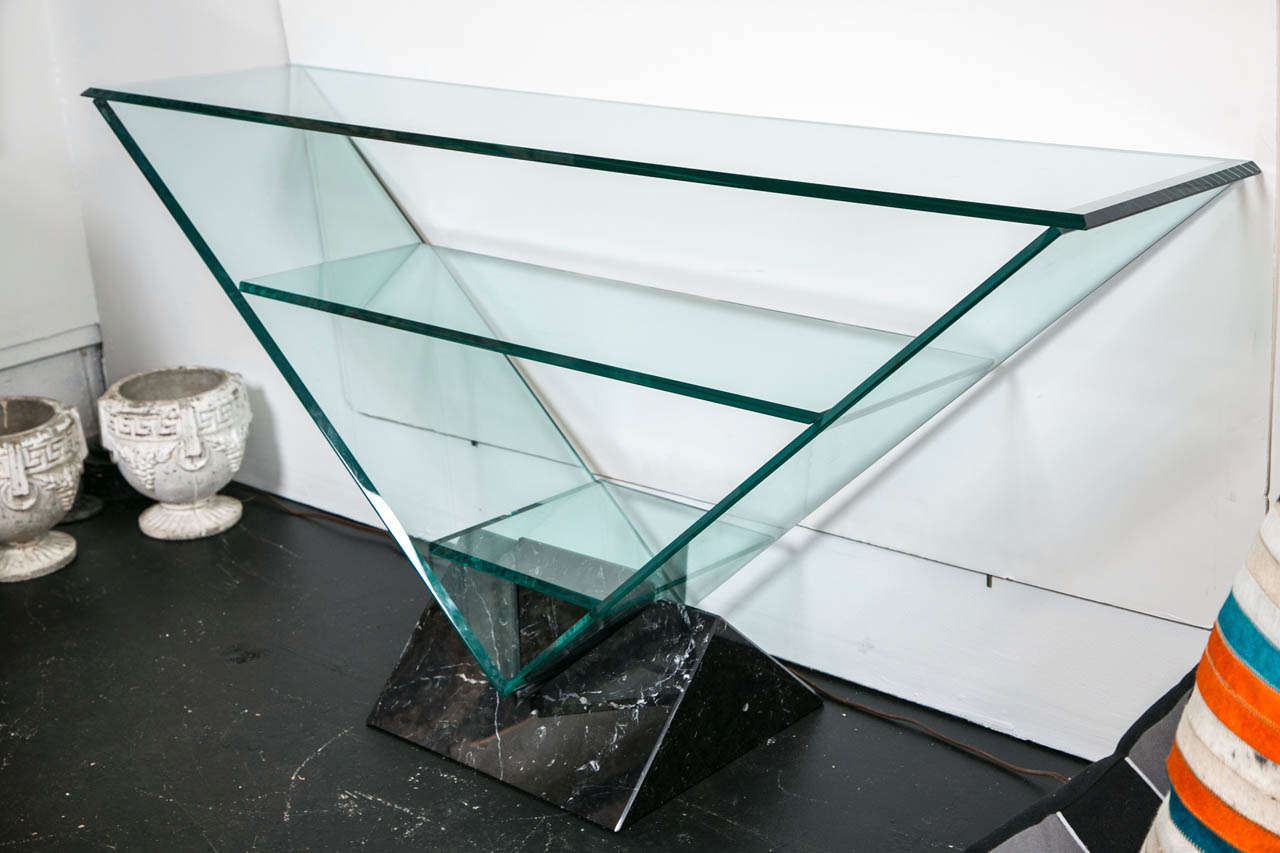Roche Bobois Console Roche Bobois Glass Console Table With Marble Base