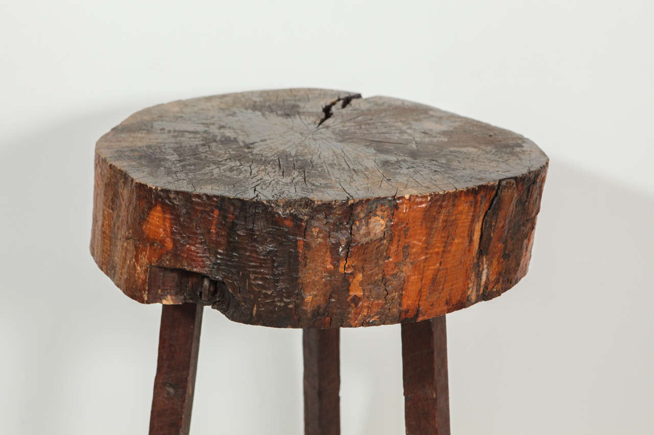Wood Block End Tables Rustic Wood Block Tall Side Table At 1stdibs