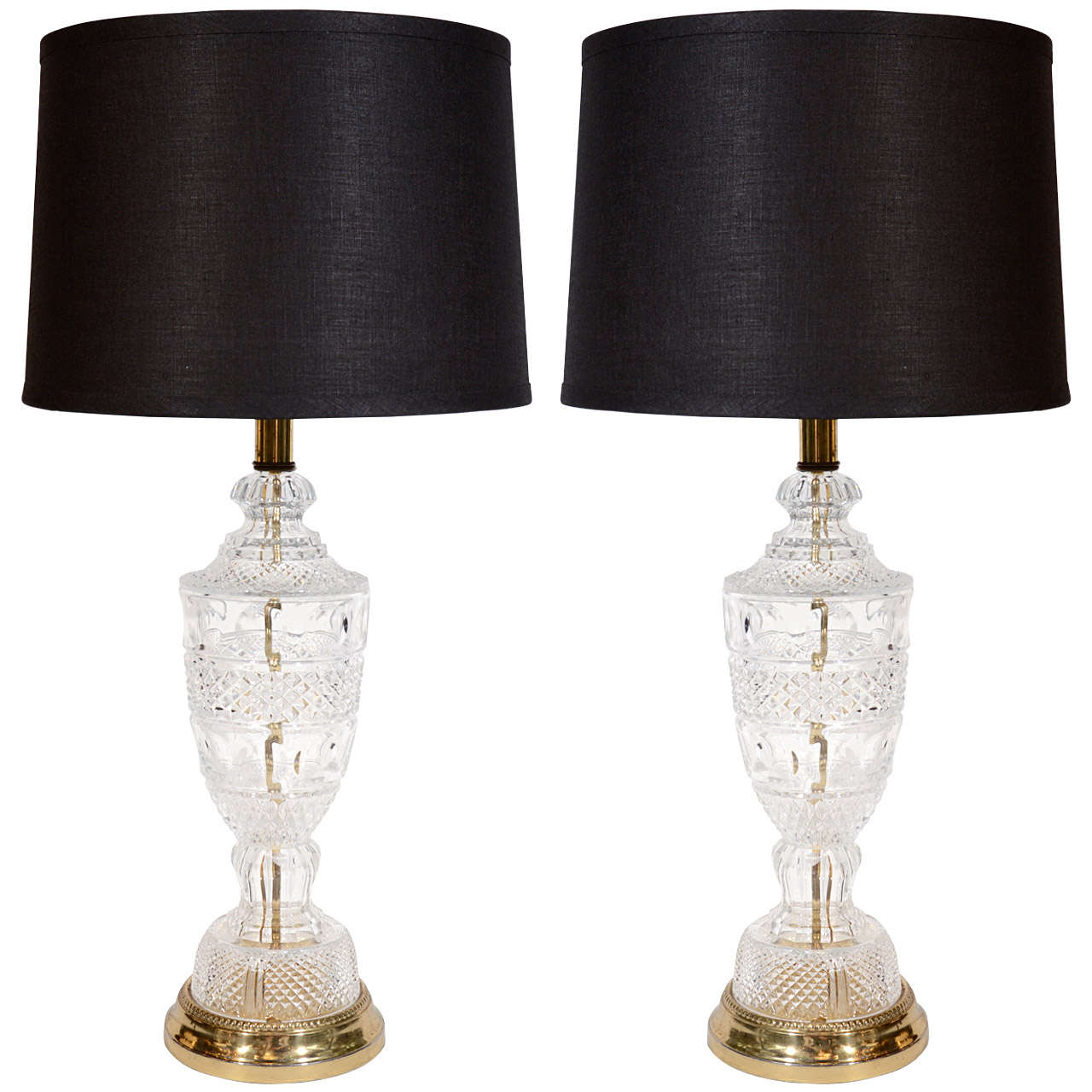 Crystal Lamp Pair Of Baccarat Style Hollywood Regency Cut Crystal Lamps