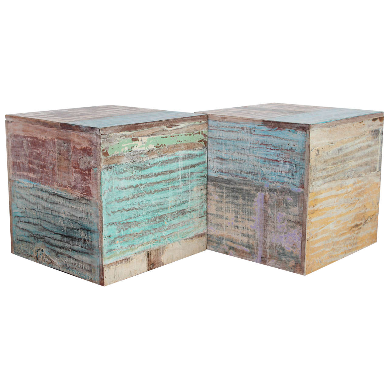 Wood Block End Tables Colorful Wood Block End Tables At 1stdibs