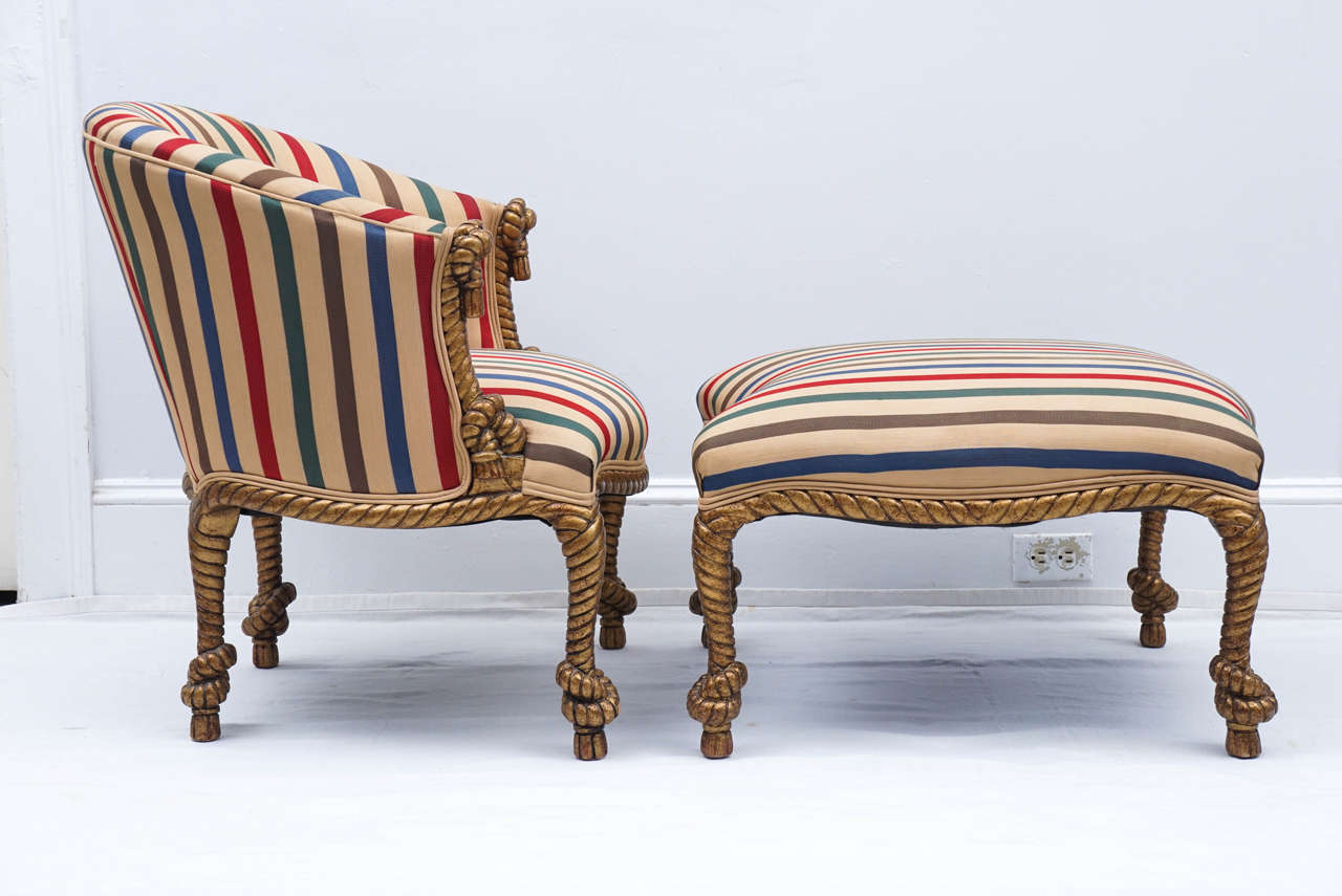 Midcentury Golden Rope Chair With Matching Ottoman For