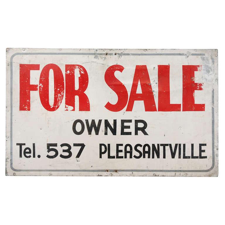 Vintage Pleasantville For Sale Sign For Sale at 1stdibs - forsale sign