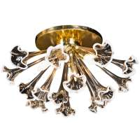Brass and glass Murano Flushmount Light Fixture at 1stdibs