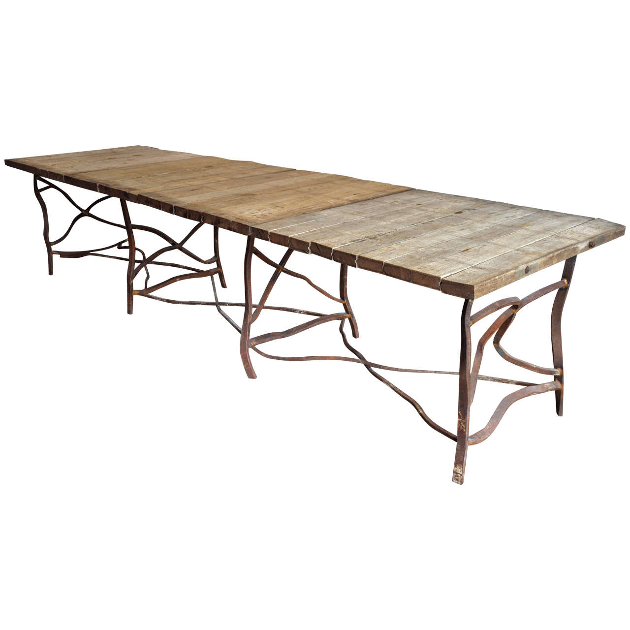 Long Dining Table For Sale Extra Long Rusty Base French Table At 1stdibs