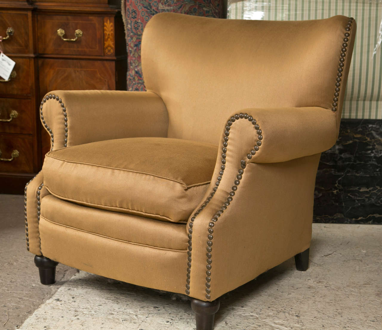 Overstuffed Wingback Chair Pair Of Overstuffed Oversized Arm Lounge Chairs At 1stdibs