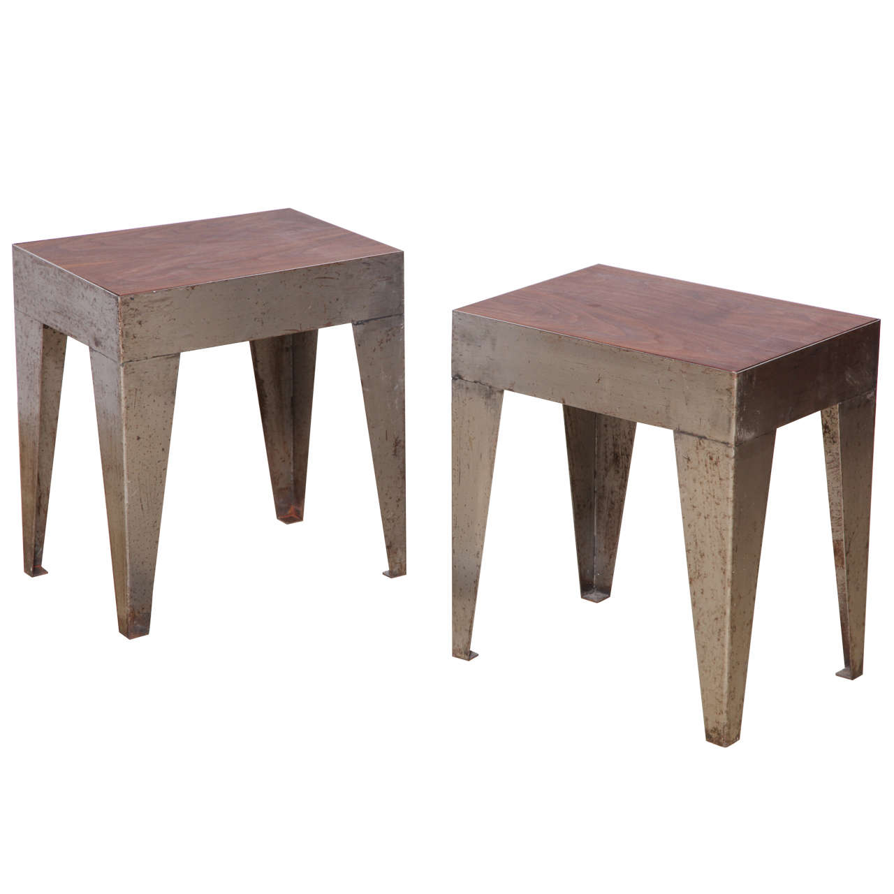 Small Industrial Side Table Pair Of Small Industrial Coffee Tables At 1stdibs