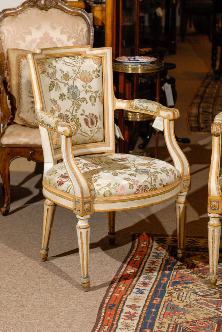 Fine Pair Of 18th Century French Louis Xvi Painted Fauteuils For Sale At 1stdibs
