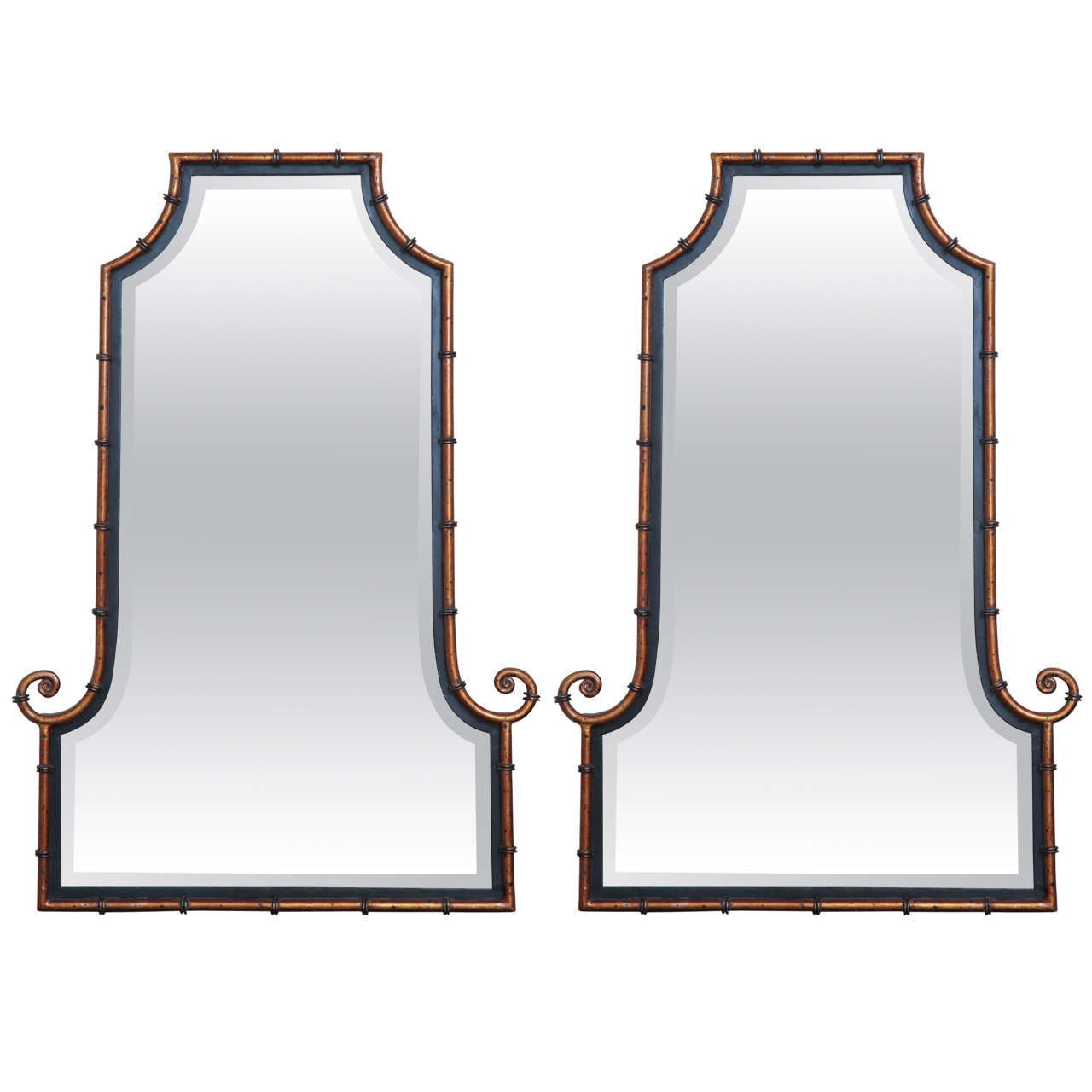 Asian Style Wall Mirrors Pair Of Painted Asian Inspired Mirrors Circa 1950 At 1stdibs