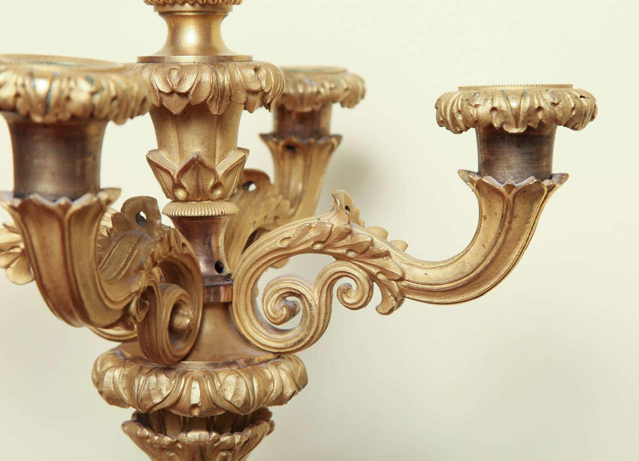 Pair Of Louis Philippe Ormolu And Bronze Candelabra